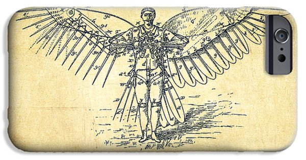 Flight iPhone Cases - Icarus Flying machine Patent Drawing-Vintage iPhone Case by Aged Pixel
