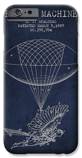 Flight iPhone Cases - Icarus Flying machine Patent from 1889 iPhone Case by Aged Pixel