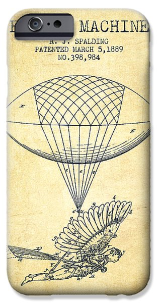Technical iPhone Cases - Icarus Flying machine Patent from 1889 - Vintage iPhone Case by Aged Pixel
