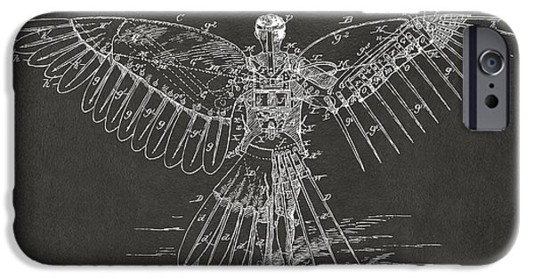 Greek Mythology iPhone Cases - Icarus Human Flight Patent Artwork - Gray iPhone Case by Nikki Marie Smith