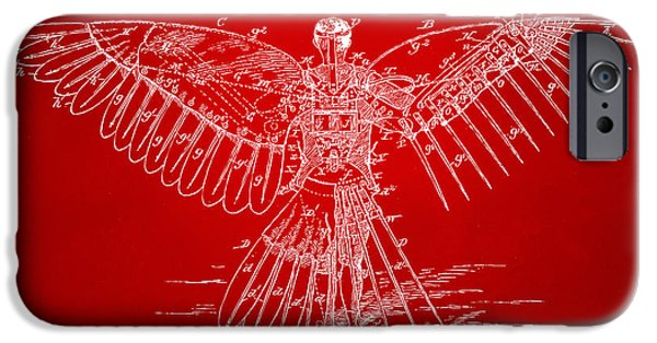 Steam Punk iPhone Cases - Icarus Human Flight Patent Artwork Red iPhone Case by Nikki Marie Smith