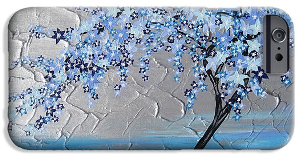 Cherry Blossoms Mixed Media iPhone Cases - Ice Blue Cherry Blossom iPhone Case by Cathy Jacobs