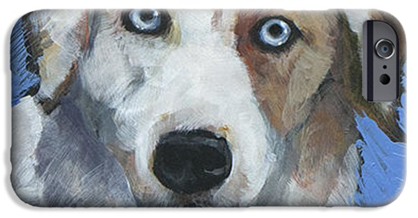 Cattle Dog iPhone Cases - Ice Blue iPhone Case by Mary Medrano
