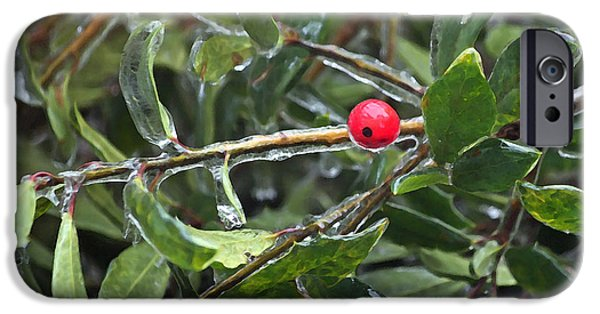 Wintertime Digital Art iPhone Cases - Ice Coated Holly iPhone Case by Suzanne Gaff