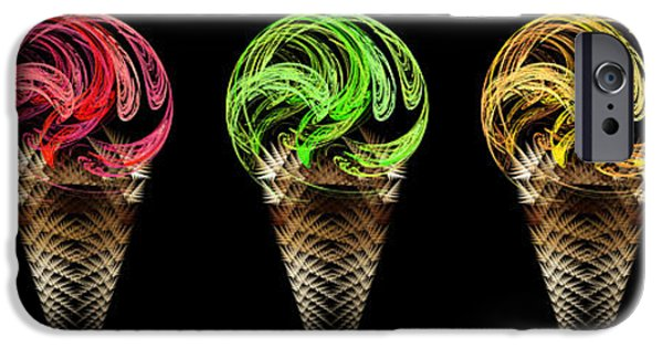 Abstract Digital Art iPhone Cases - Ice Cream Cones 5 Flavors iPhone Case by Andee Design