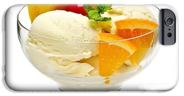 Snack iPhone Cases - Ice cream with fruit iPhone Case by Elena Elisseeva