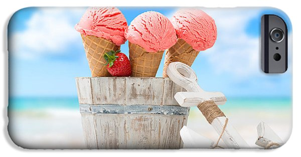 Strawberry iPhone Cases - Ice Creams On Vacation iPhone Case by Amanda And Christopher Elwell