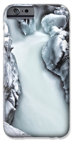 Winter Scene iPhone Cases - Ice Creek Cascade iPhone Case by Darren  White