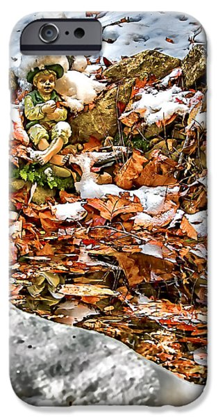 Wintry Mixed Media iPhone Cases - Ice Fishing Leprechaun iPhone Case by John Haldane