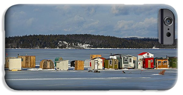 Best Sellers -  - Wintertime iPhone Cases - Ice Fishing Shacks Renforth New Brunswick iPhone Case by Jamie Roach