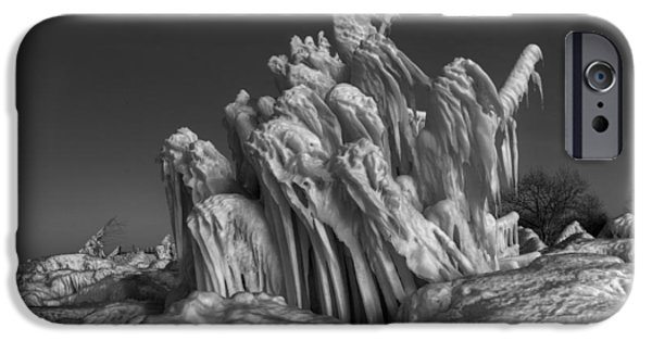 Shape Pyrography iPhone Cases - Ice Formation Black and White iPhone Case by Daniel Behm