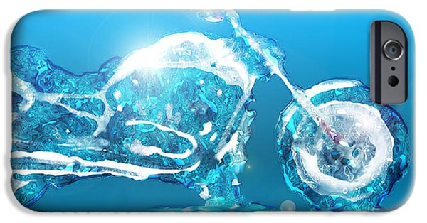 Blue Abstracts iPhone Cases - Ice Harley iPhone Case by David Balber