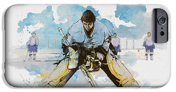 Canadian Culture Paintings iPhone Cases - Ice Hockey iPhone Case by Corporate Art Task Force