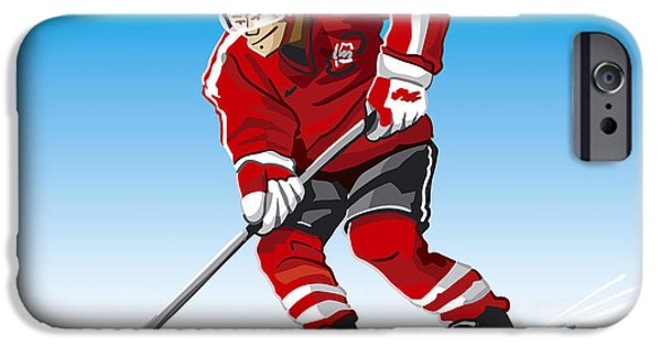 Competition iPhone Cases - Ice Hockey Player Red iPhone Case by Frank Ramspott