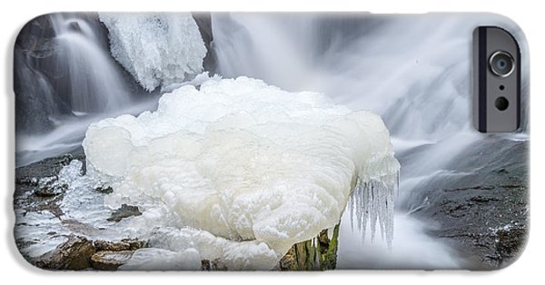 Winter In Maine iPhone Cases - Ice Over Algae With A Touch Of Blur iPhone Case by Stroudwater Falls Photography