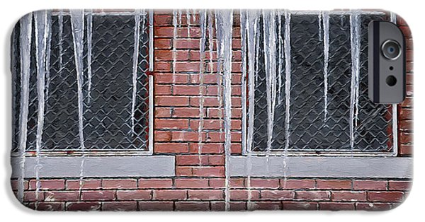 Wintry Mixed Media iPhone Cases - Ice Over Brick iPhone Case by Steve Ohlsen