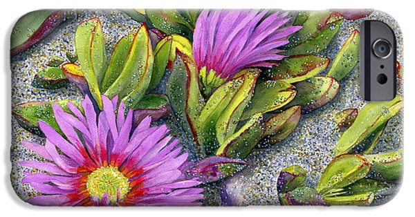 Dunes Paintings iPhone Cases - Ice Plant iPhone Case by Karen Wright