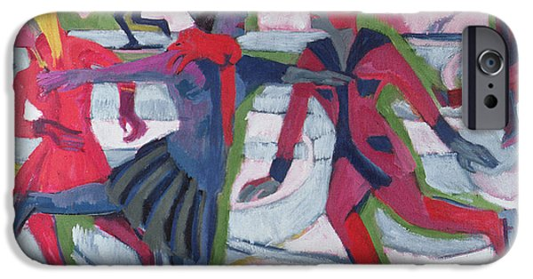 White Christmas iPhone Cases - Ice Skaters  iPhone Case by Ernst Ludwig Kirchner