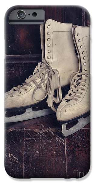 Snow Pyrography iPhone Cases - Ice Skates iPhone Case by Jelena Jovanovic