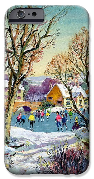 Ice-skating iPhone Cases - Ice Skating, 1973 Gouache On Paper iPhone Case by Stanley Cooke