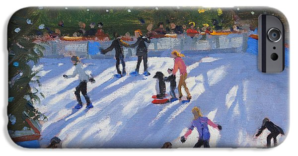 Ice-skating iPhone Cases - Ice skating iPhone Case by Andrew Macara