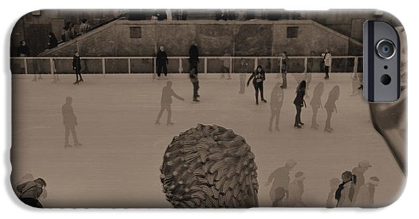 Christmas Eve iPhone Cases - Ice Skating At Rockefeller Center In The Early Days iPhone Case by Dan Sproul