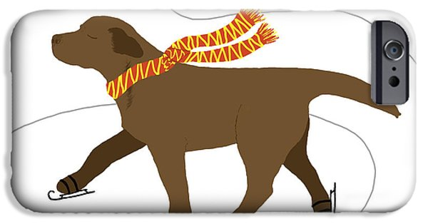 Chocolate Lab Digital Art iPhone Cases - Ice Skating Chocolate Labrador Dog iPhone Case by Amy Reges