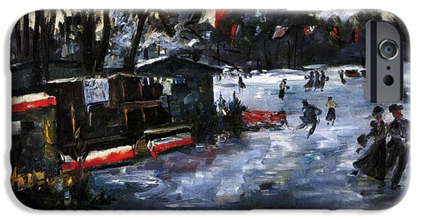 Berlin Paintings iPhone Cases - Ice Skating in Berlin iPhone Case by Lovis Corinth