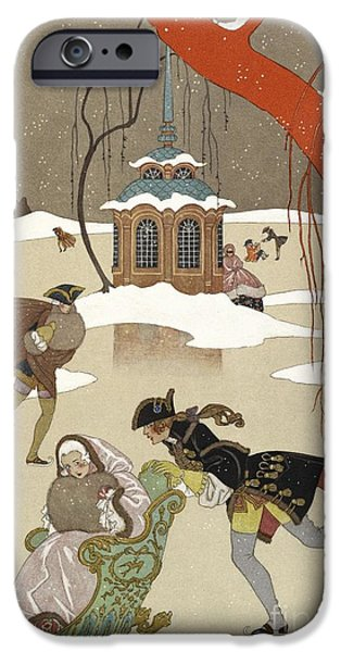Georges Barbier iPhone Cases - Ice Skating In France, 19th Century iPhone Case by British Library