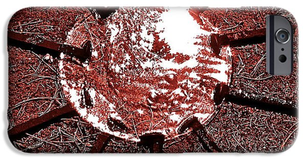 Disc Paintings iPhone Cases - Ice Sun Red iPhone Case by Theano Lamb