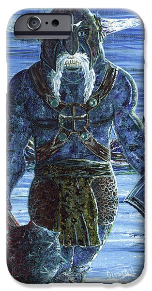 Vikings Paintings iPhone Cases - Ice Viking iPhone Case by Jason Girard