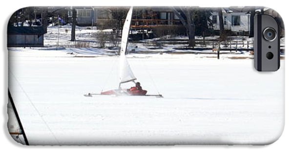 Racing iPhone Cases - Ice Yacht Race iPhone Case by Michelle Calkins