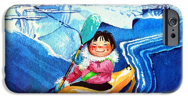 Kids Sports Art iPhone Cases - Iceberg Kayaker iPhone Case by Hanne Lore Koehler