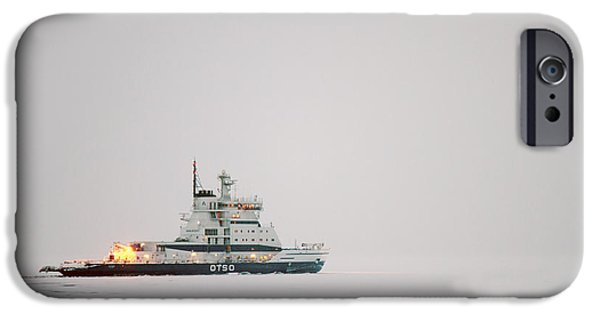 Lapin Laani iPhone Cases - Icebreaker ship in the arctict  iPhone Case by Lilach Weiss