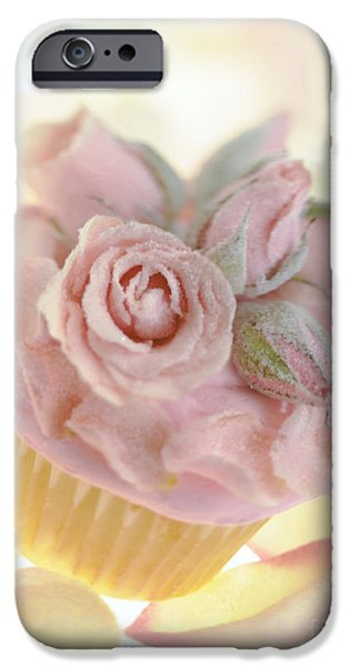 Commercial Photography iPhone Cases - Iced Cup Cake with Sugared Pink Roses iPhone Case by Iris Richardson