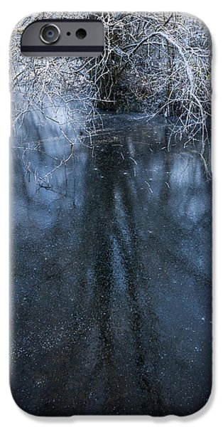 Snowy Stream iPhone Cases - Iced Mirror iPhone Case by Svetlana Sewell