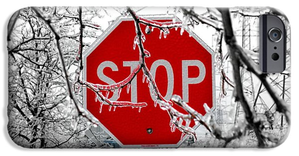 Freeze Warning iPhone Cases - Iced Stop Sign iPhone Case by Valentino Visentini