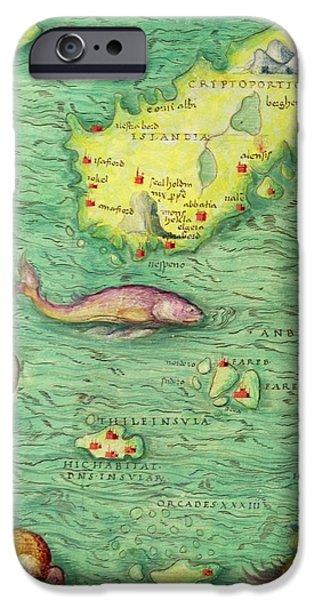 Cartography iPhone Cases - Iceland, From An Atlas Of The World In 33 Maps, Venice, 1st September 1553 Ink On Vellum Detail iPhone Case by Battista Agnese