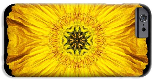 David J Bookbinder iPhone Cases - Iceland Poppy Flower Mandala iPhone Case by David J Bookbinder