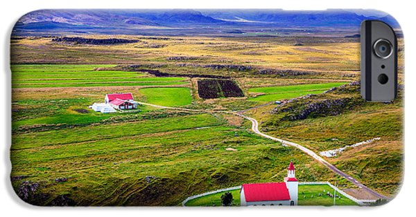 Graveyard Road iPhone Cases - Icelandic church and farm iPhone Case by Alexey Stiop