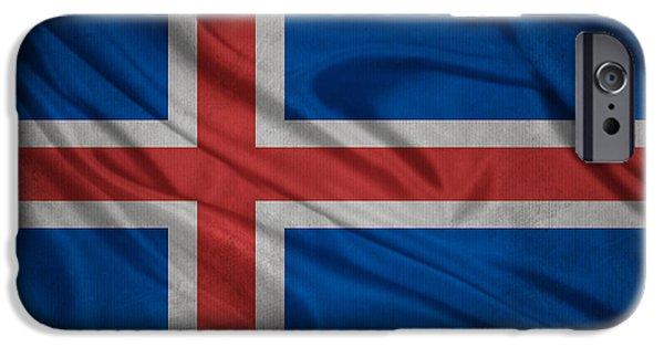 Waving Flag Mixed Media iPhone Cases - Icelandic flag waving on canvas iPhone Case by Eti Reid