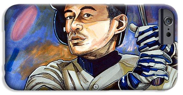 Mlb Drawings iPhone Cases - Ichiro Suzuki - Samurai iPhone Case by Dave Olsen