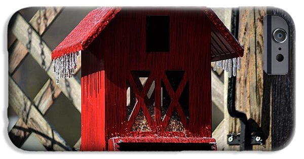 Red Barn In Winter iPhone Cases - Icicles on the Barn  iPhone Case by JW Hanley