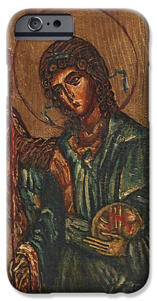 Michael Reliefs iPhone Cases - Icon Of Archangel Michael - Painting On The Wood iPhone Case by Nenad  Cerovic