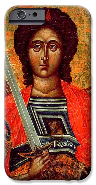 Michael Paintings iPhone Cases - Icon of the Angel Michael iPhone Case by Greek School