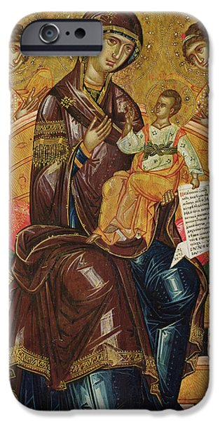 Jesus With Children iPhone Cases - Icon of the Virgin and Child with Archangels and Prophets iPhone Case by Longin