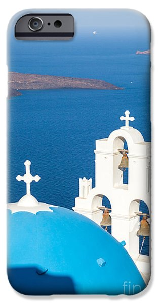 Greek Icon iPhone Cases - Iconic blue cupola overlooking the sea Santorini Greece iPhone Case by Matteo Colombo
