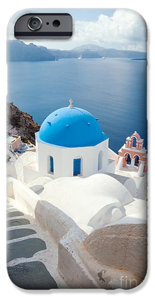 Greek Icon iPhone Cases - Iconic blue domed churches in Santorini - Greece iPhone Case by Matteo Colombo