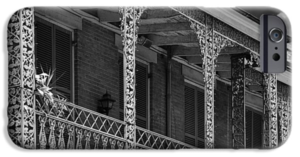 Balcony iPhone Cases - Iconic New Orleans wrought iron balcony iPhone Case by Christine Till