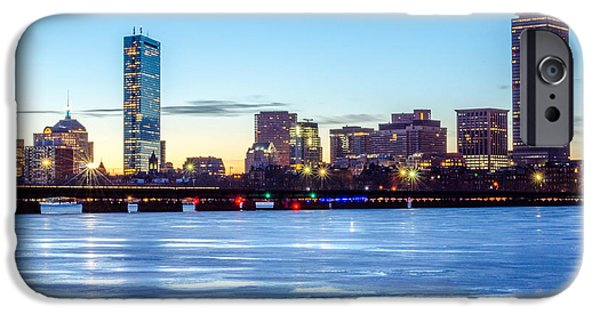 Boston Ma iPhone Cases - Icy Boston at Dawn iPhone Case by Mike Ste Marie